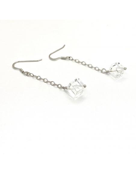 Boucle d'oreille pendante artisanat belge pour femme argent rhodié et pierre naturelle cristal de roche