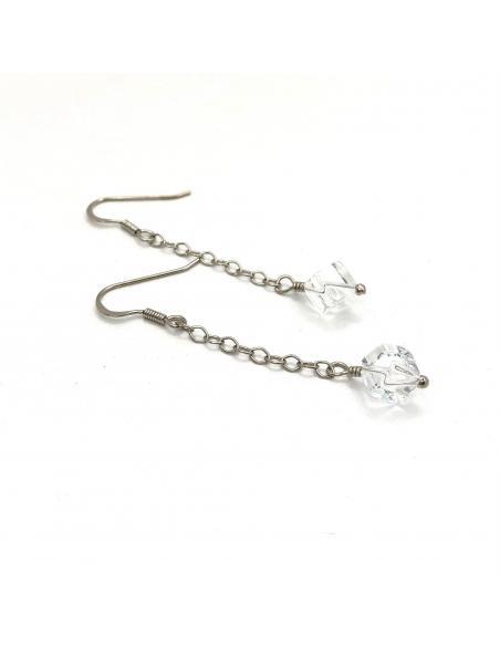 Boucle d'oreille de créateur belge bijou argent pour femme avec pierre naturelle cristal de roche