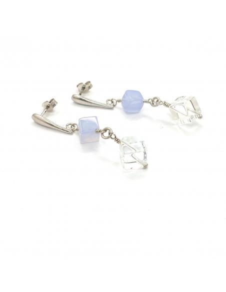 pendant d'oreille argent et pierres fines naturelles, cristal et calcedoine bijoux pour femme dans notre bijouterie de jodoigne