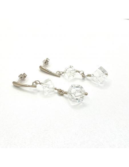 Boucle d'oreille artisanale pour femme argent et pierre fine naturelle cristal de roche vendue dans notre bijouterie en ligne