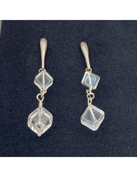 Boucle d'oreille argent artisanale pierre fine cristal nickelfree